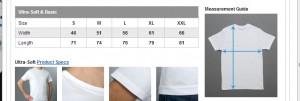 new t shirt measurments